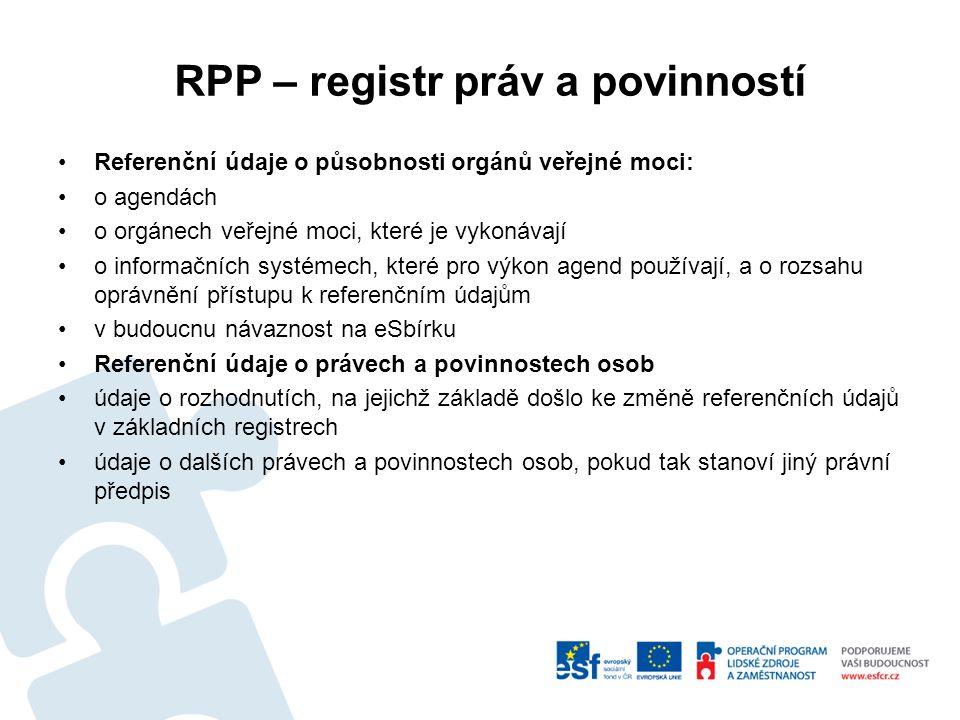 RPP – registr práv a povinností Referenční údaje o působnosti orgánů veřejné moci: o agendách o orgánech veřejné moci, které je vykonávají o informačních systémech, které pro výkon agend používají, a o rozsahu oprávnění přístupu k referenčním údajům v budoucnu návaznost na eSbírku Referenční údaje o právech a povinnostech osob údaje o rozhodnutích, na jejichž základě došlo ke změně referenčních údajů v základních registrech údaje o dalších právech a povinnostech osob, pokud tak stanoví jiný právní předpis