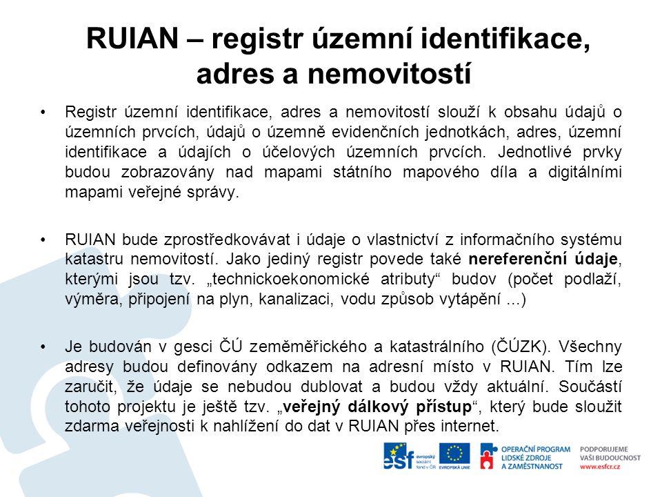 RUIAN – registr územní identifikace, adres a nemovitostí Registr územní identifikace, adres a nemovitostí slouží k obsahu údajů o územních prvcích, údajů o územně evidenčních jednotkách, adres, územní identifikace a údajích o účelových územních prvcích.