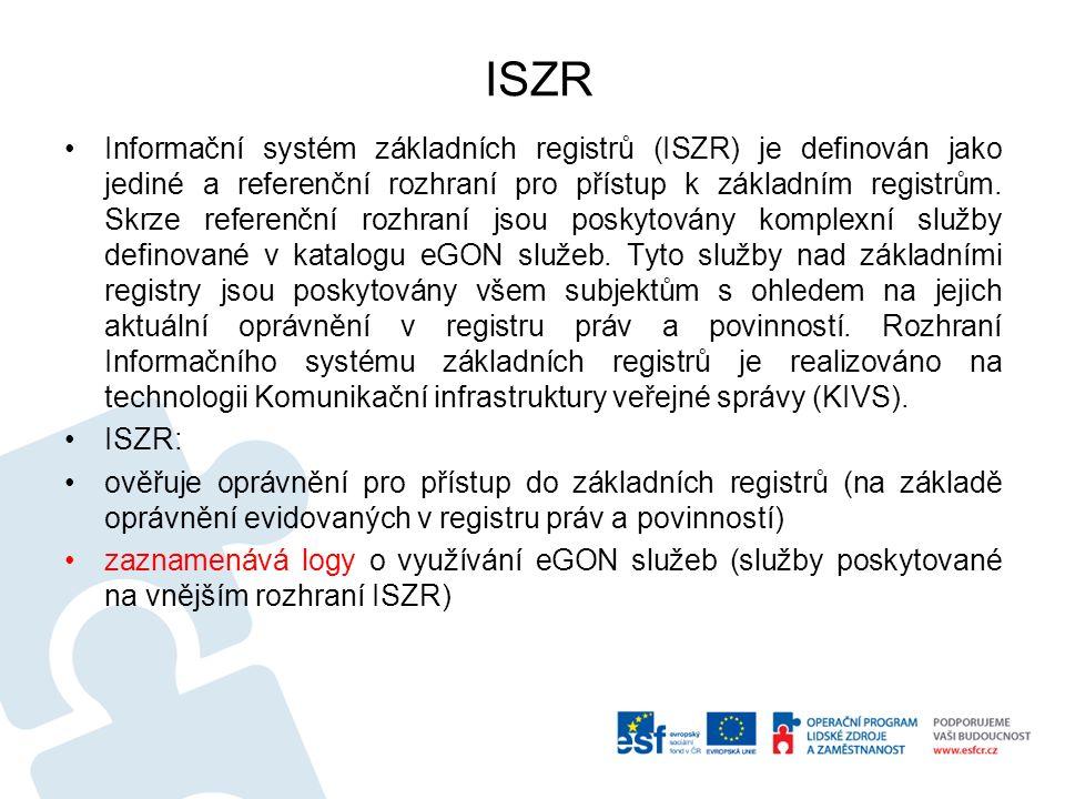 Bezpečnost ISZR Za bezpečnost Informačního systému základních registrů odpovídá Správa základních registrů.