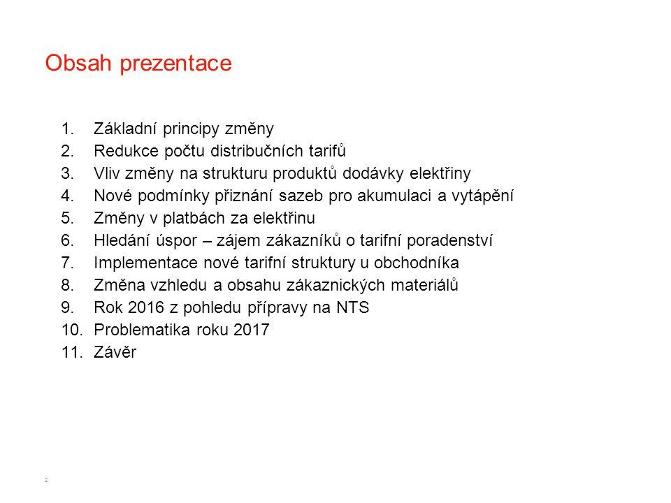 Obsah prezentace 1.Základní principy změny 2.Redukce počtu distribučních tarifů 3.Vliv změny na strukturu produktů dodávky elektřiny 4.Nové podmínky p