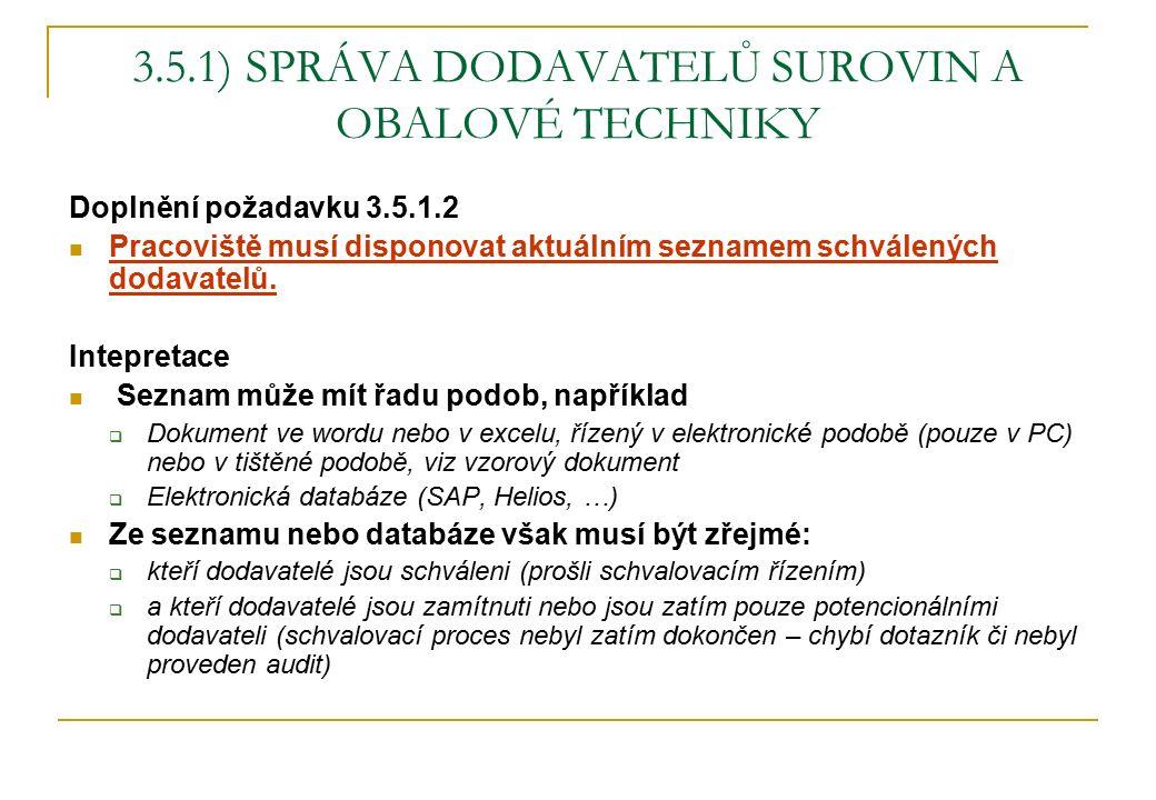 3.5.1) SPRÁVA DODAVATELŮ SUROVIN A OBALOVÉ TECHNIKY Doplnění požadavku 3.5.1.2 Pracoviště musí disponovat aktuálním seznamem schválených dodavatelů.