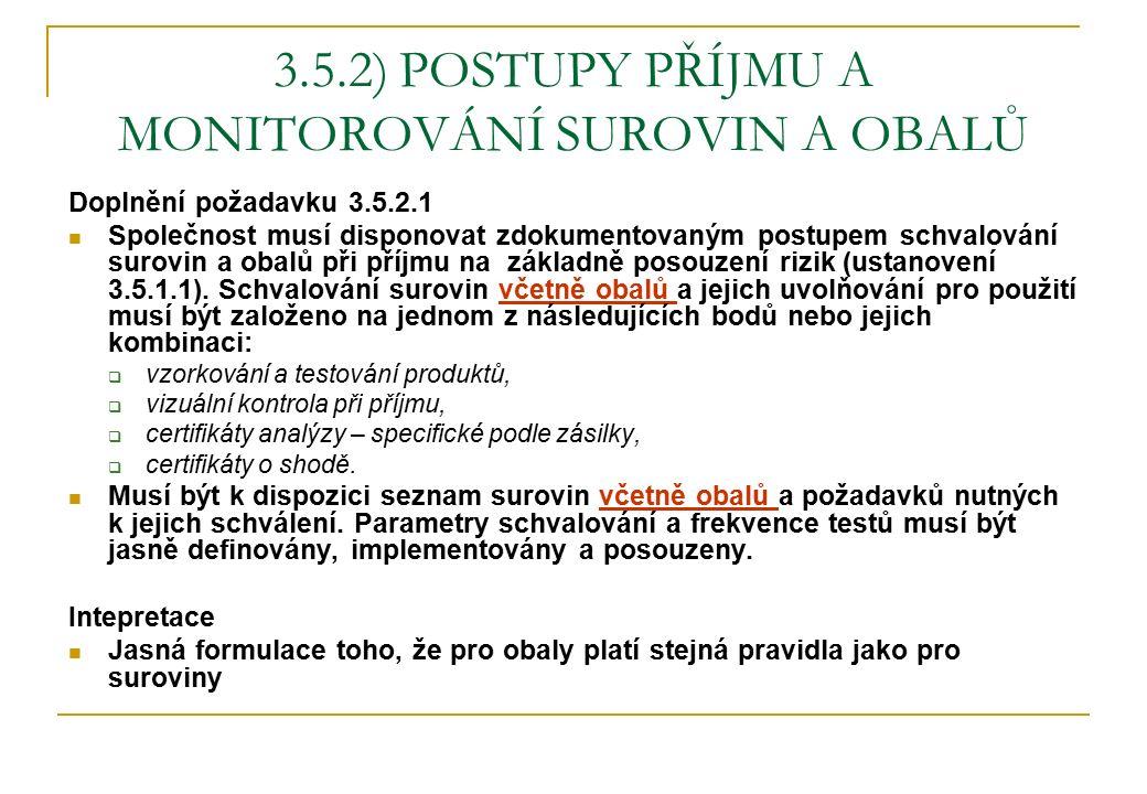 3.5.2) POSTUPY PŘÍJMU A MONITOROVÁNÍ SUROVIN A OBALŮ Doplnění požadavku 3.5.2.1 Společnost musí disponovat zdokumentovaným postupem schvalování surovin a obalů při příjmu na základně posouzení rizik (ustanovení 3.5.1.1).