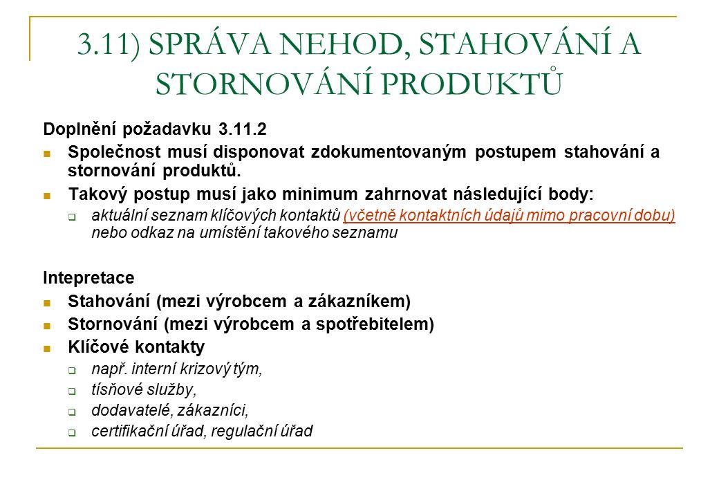 3.11) SPRÁVA NEHOD, STAHOVÁNÍ A STORNOVÁNÍ PRODUKTŮ Doplnění požadavku 3.11.2 Společnost musí disponovat zdokumentovaným postupem stahování a stornování produktů.