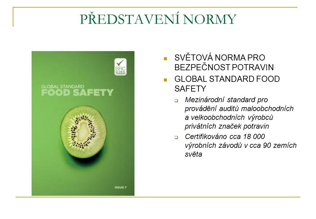 PŘEDSTAVENÍ NORMY SVĚTOVÁ NORMA PRO BEZPEČNOST POTRAVIN GLOBAL STANDARD FOOD SAFETY  Mezinárodní standard pro provádění auditů maloobchodních a velkoobchodních výrobců privátních značek potravin  Certifikováno cca 18 000 výrobních závodů v cca 90 zemích světa