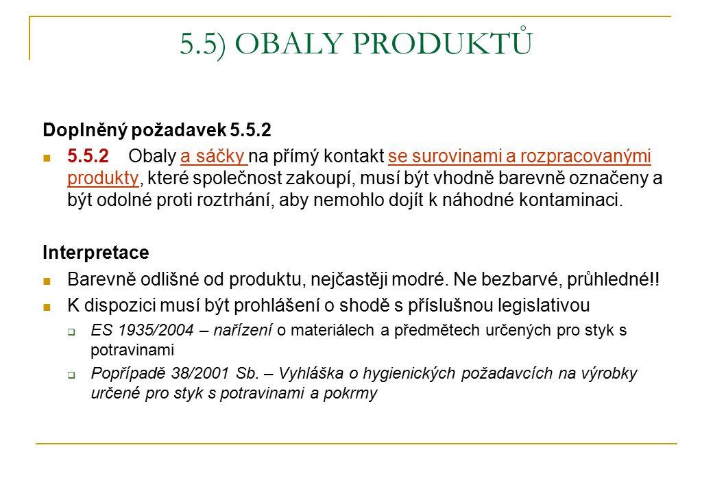 5.5) OBALY PRODUKTŮ Doplněný požadavek 5.5.2 5.5.2 Obaly a sáčky na přímý kontakt se surovinami a rozpracovanými produkty, které společnost zakoupí, musí být vhodně barevně označeny a být odolné proti roztrhání, aby nemohlo dojít k náhodné kontaminaci.