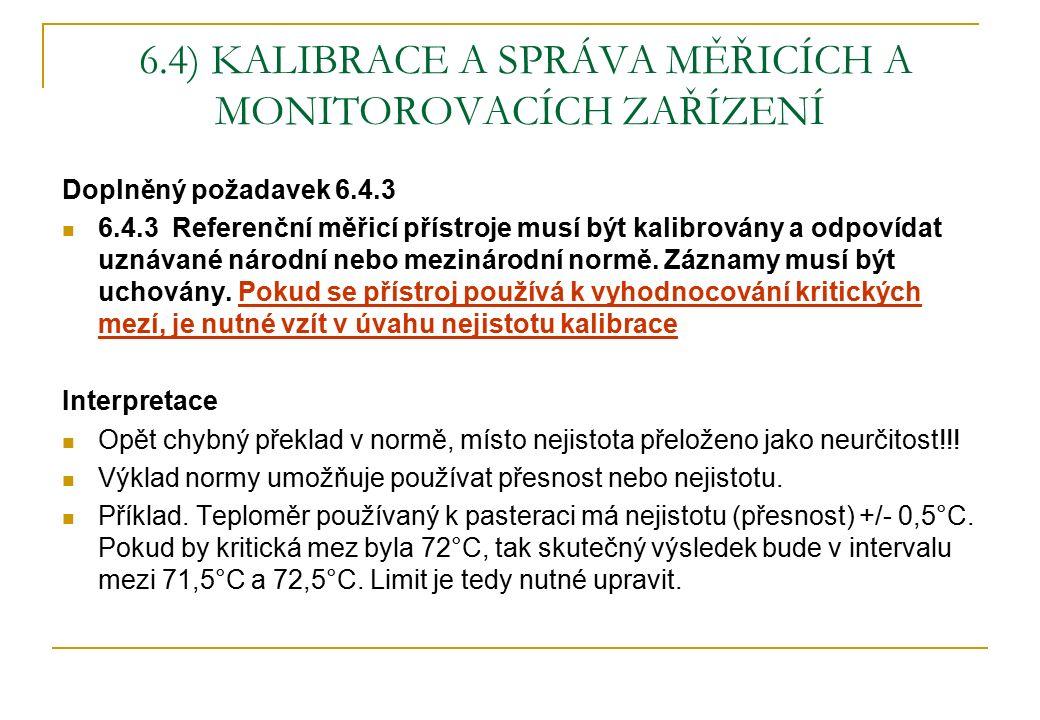 6.4) KALIBRACE A SPRÁVA MĚŘICÍCH A MONITOROVACÍCH ZAŘÍZENÍ Doplněný požadavek 6.4.3 6.4.3 Referenční měřicí přístroje musí být kalibrovány a odpovídat uznávané národní nebo mezinárodní normě.