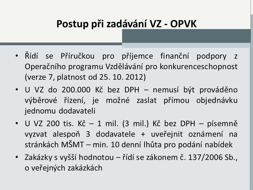 Postup při zadávání VZ - OPVK Řídí se Příručkou pro příjemce finanční podpory z Operačního programu Vzdělávání pro konkurenceschopnost (verze 7, platnost od 25.