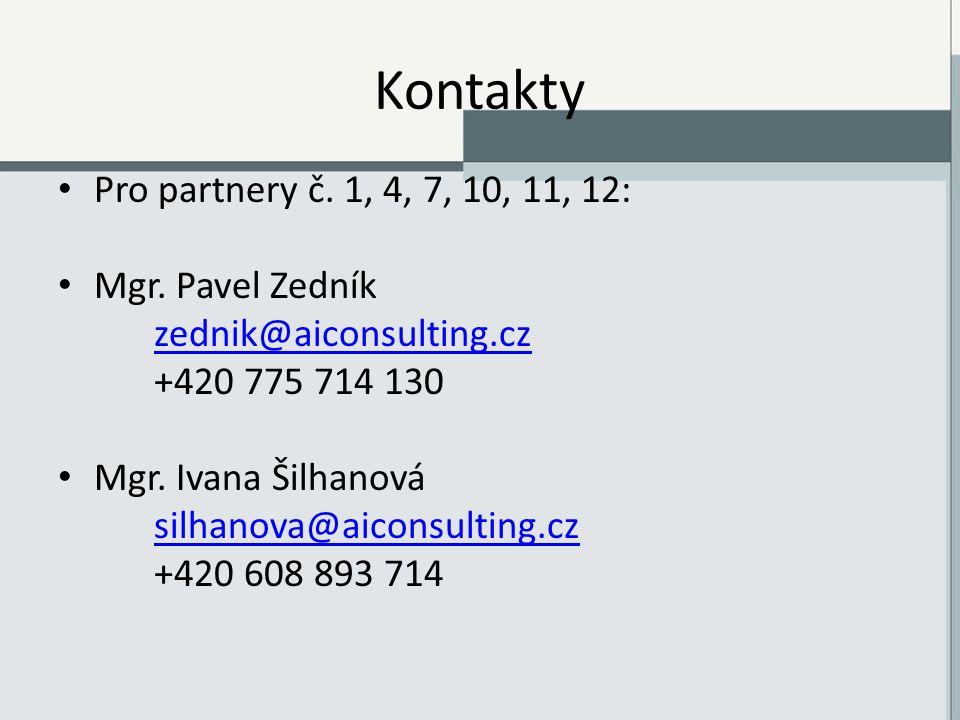 Kontakty Pro partnery č. 1, 4, 7, 10, 11, 12: Mgr.