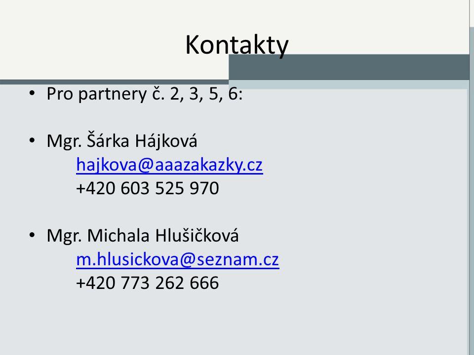 Kontakty Pro partnery č. 2, 3, 5, 6: Mgr.