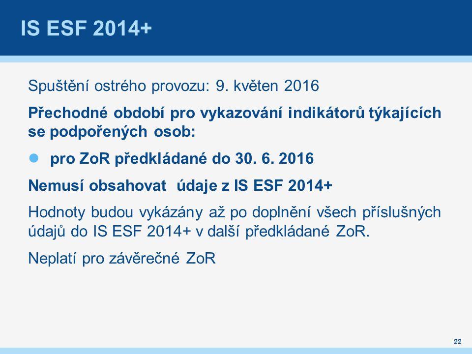IS ESF 2014+ Spuštění ostrého provozu: 9.
