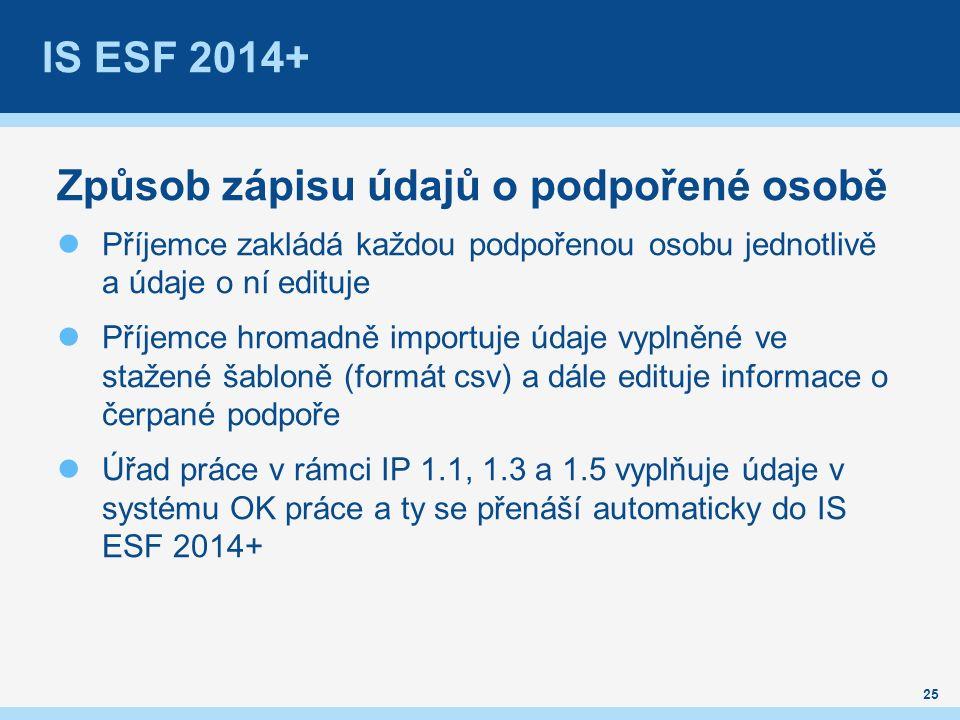 IS ESF 2014+ Způsob zápisu údajů o podpořené osobě Příjemce zakládá každou podpořenou osobu jednotlivě a údaje o ní edituje Příjemce hromadně importuje údaje vyplněné ve stažené šabloně (formát csv) a dále edituje informace o čerpané podpoře Úřad práce v rámci IP 1.1, 1.3 a 1.5 vyplňuje údaje v systému OK práce a ty se přenáší automaticky do IS ESF 2014+ 25