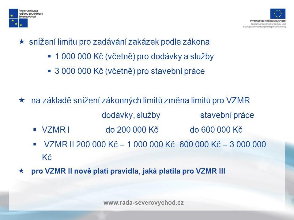 www.rada-severovychod.cz  snížení limitu pro zadávání zakázek podle zákona  1 000 000 Kč (včetně) pro dodávky a služby  3 000 000 Kč (včetně) pro s
