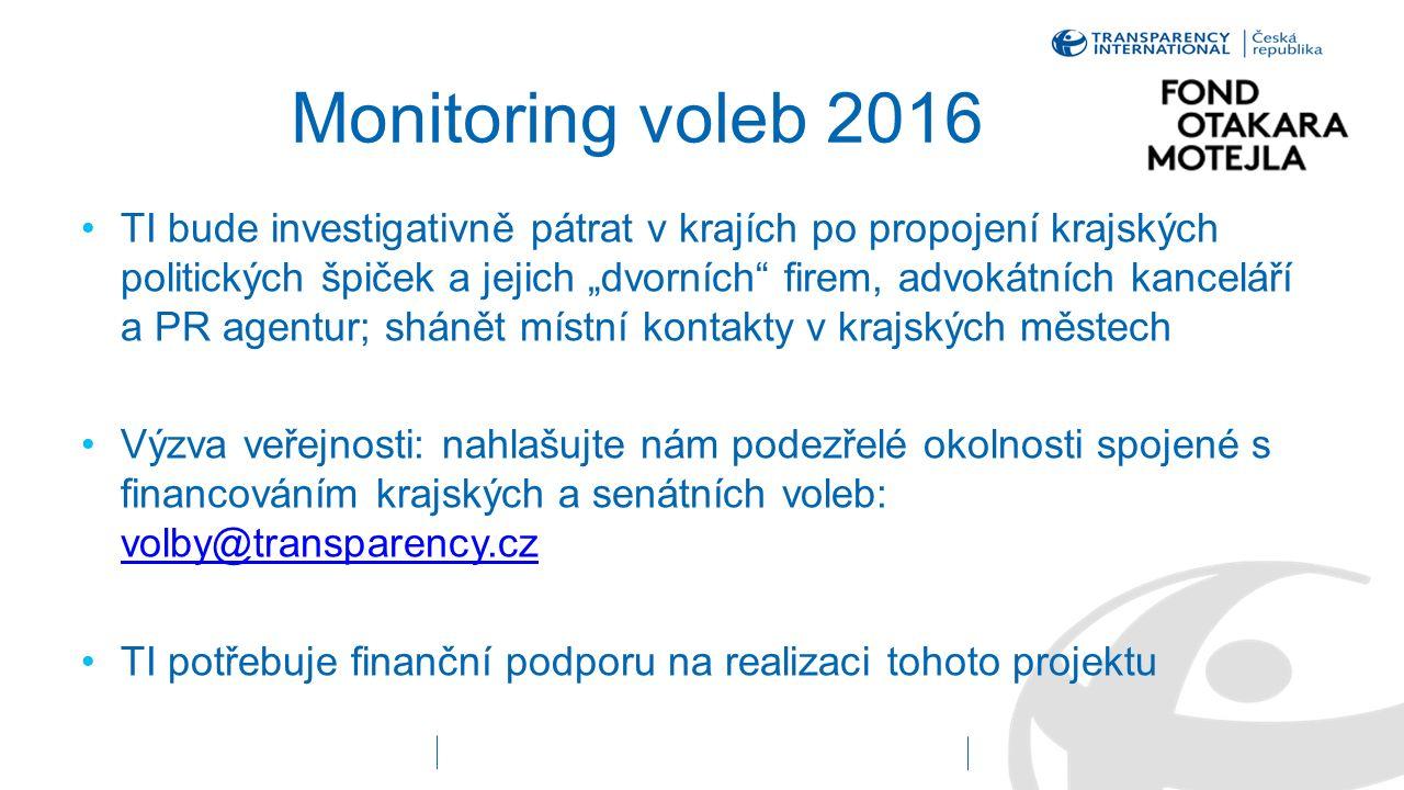 """Monitoring voleb 2016 TI bude investigativně pátrat v krajích po propojení krajských politických špiček a jejich """"dvorních"""" firem, advokátních kancelá"""