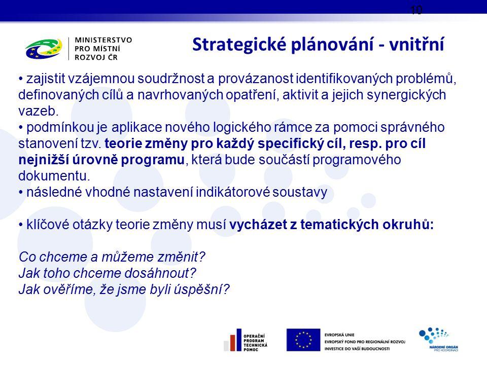 Strategické plánování - vnitřní 10 zajistit vzájemnou soudržnost a provázanost identifikovaných problémů, definovaných cílů a navrhovaných opatření, a