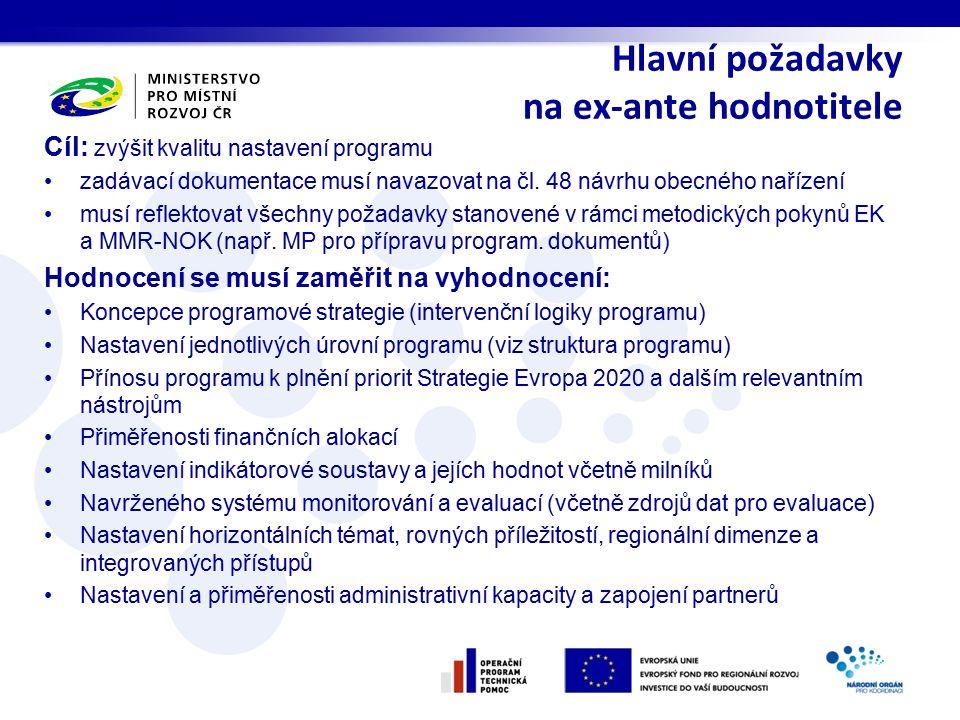 Cíl: zvýšit kvalitu nastavení programu zadávací dokumentace musí navazovat na čl. 48 návrhu obecného nařízení musí reflektovat všechny požadavky stano