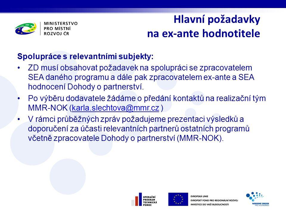 Hlavní požadavky na ex-ante hodnotitele Spolupráce s relevantními subjekty: ZD musí obsahovat požadavek na spolupráci se zpracovatelem SEA daného prog