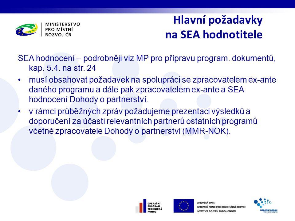 Hlavní požadavky na SEA hodnotitele SEA hodnocení – podrobněji viz MP pro přípravu program. dokumentů, kap. 5.4. na str. 24 musí obsahovat požadavek n