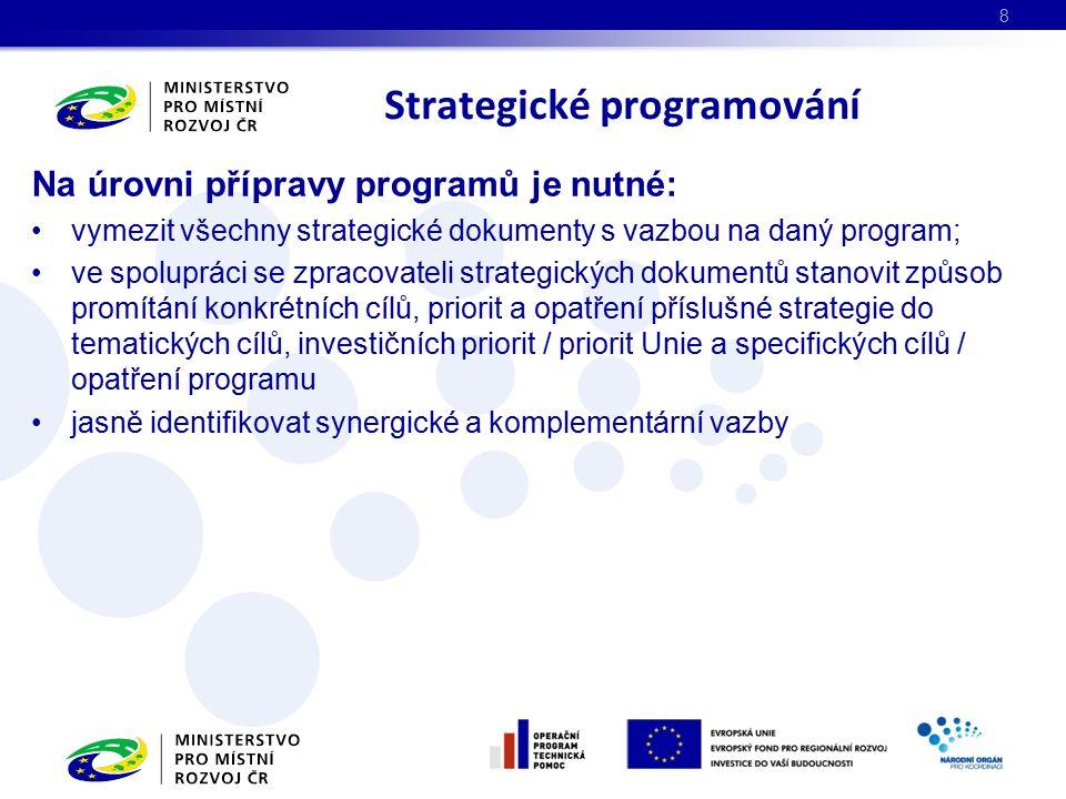 Na úrovni přípravy programů je nutné: vymezit všechny strategické dokumenty s vazbou na daný program; ve spolupráci se zpracovateli strategických doku