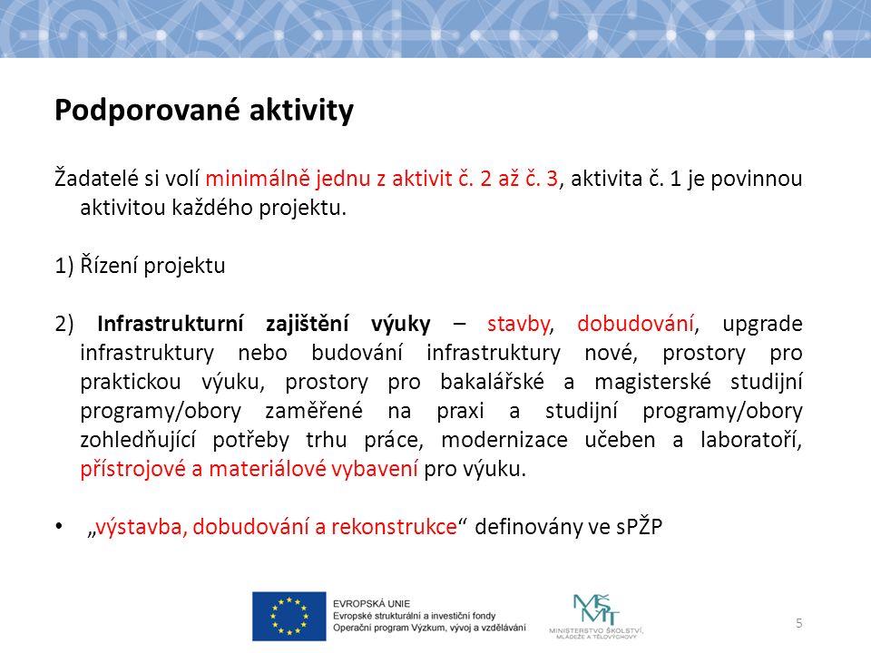 Podporované aktivity Žadatelé si volí minimálně jednu z aktivit č. 2 až č. 3, aktivita č. 1 je povinnou aktivitou každého projektu. 1) Řízení projektu