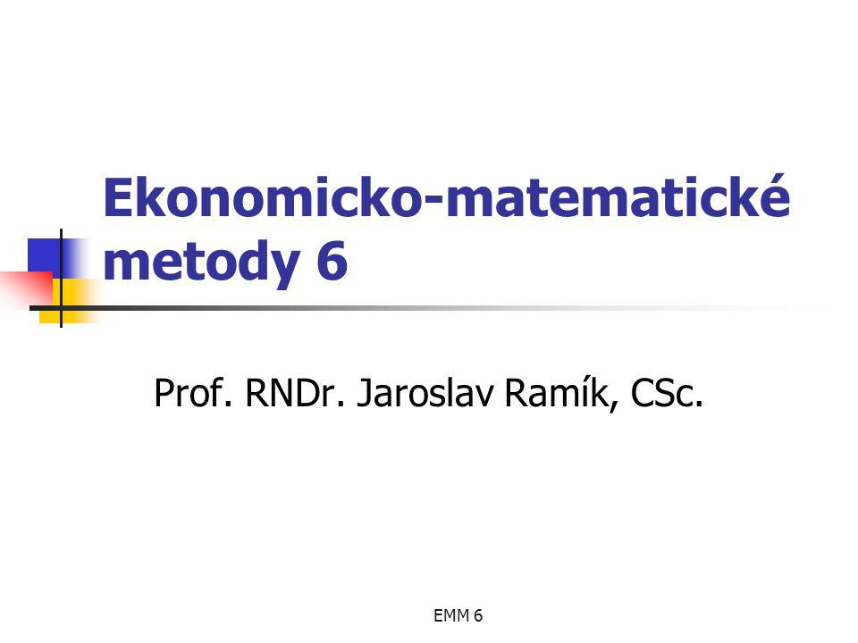 """EMM 6 Duální úloha je tedy následující: minimalizovat f = 270y 1 + 100y 2 + 60(y 3 ´- y 3 ´´) za podmínek 0,9y 1 + 0,1(y 3 ´- y 3 ´´) ≥ 2000 0,3y 1 + 0,5y 2 + 0,2(y 3 ´- y 3 ´´) ≥ 3000 y 1 ≥ 0 y 2 ≥ 0 y 3 ´ ≥ 0 y 3 ´´ ≥ 0 Nesouměrná dualita Příklad 3: """"Krmné směsi – řešení 3 y3y3"""