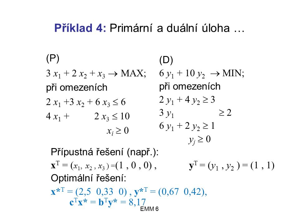 EMM 6 Příklad 4: Primární a duální úloha … (D) 6 y 1 + 10 y 2  MIN; při omezeních 2 y 1 + 4 y 2  3 3 y 1  2 6 y 1 + 2 y 2  1 y j  0 Přípustná řešení (např.): x T = ( x 1, x 2, x 3 ) = (1, 0, 0), y T = (y 1, y 2 ) = (1, 1) Optimální řešení: x* T = (2,5 0,33 0), y* T = (0,67 0,42), c T x* = b T y* = 8,17 (P) 3 x 1 + 2 x 2 + x 3  MAX; při omezeních 2 x 1 +3 x 2 + 6 x 3  6 4 x 1 + 2 x 3  10 x i  0