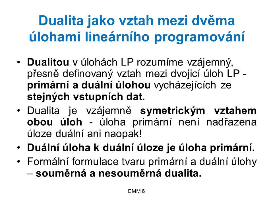 EMM 6 Dualita jako vztah mezi dvěma úlohami lineárního programování Dualitou v úlohách LP rozumíme vzájemný, přesně definovaný vztah mezi dvojicí úloh LP - primární a duální úlohou vycházejících ze stejných vstupních dat.
