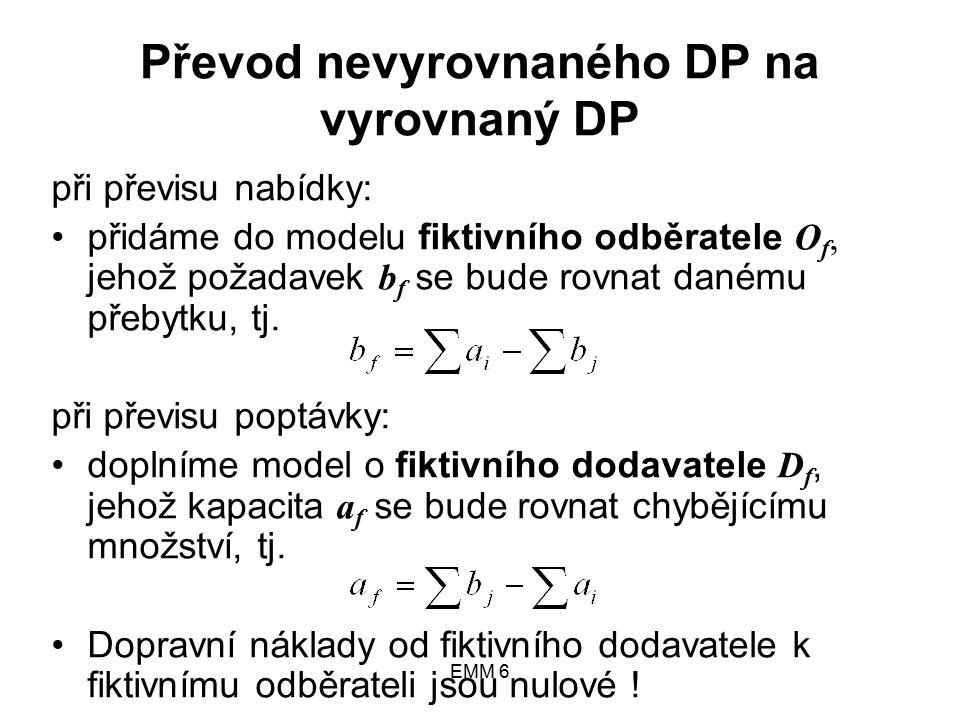 EMM 6 Převod nevyrovnaného DP na vyrovnaný DP při převisu nabídky: přidáme do modelu fiktivního odběratele O f, jehož požadavek b f se bude rovnat danému přebytku, tj.