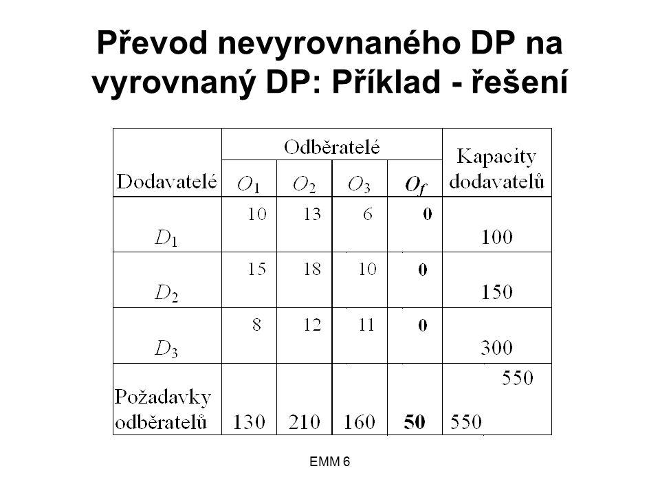 EMM 6 Převod nevyrovnaného DP na vyrovnaný DP: Příklad - řešení
