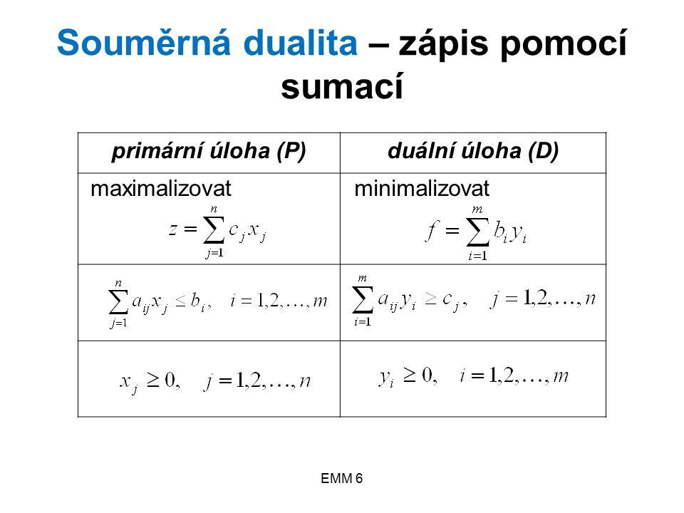 EMM 6 Nesouměrná dualita úlohy LP s rovnicemi ve vlastních omezeních – maticový zápis (P)(D) maximalizovat z = c T x minimalizovat f = b T y Ax = bA T y ≥ c x ≥ 0 y – libovolné (tj.