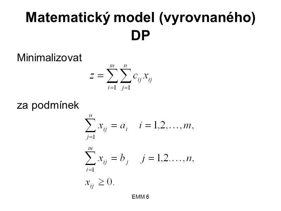 EMM 6 Matematický model (vyrovnaného) DP Minimalizovat za podmínek