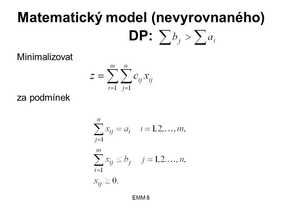 EMM 6 Matematický model (nevyrovnaného) DP: Minimalizovat za podmínek