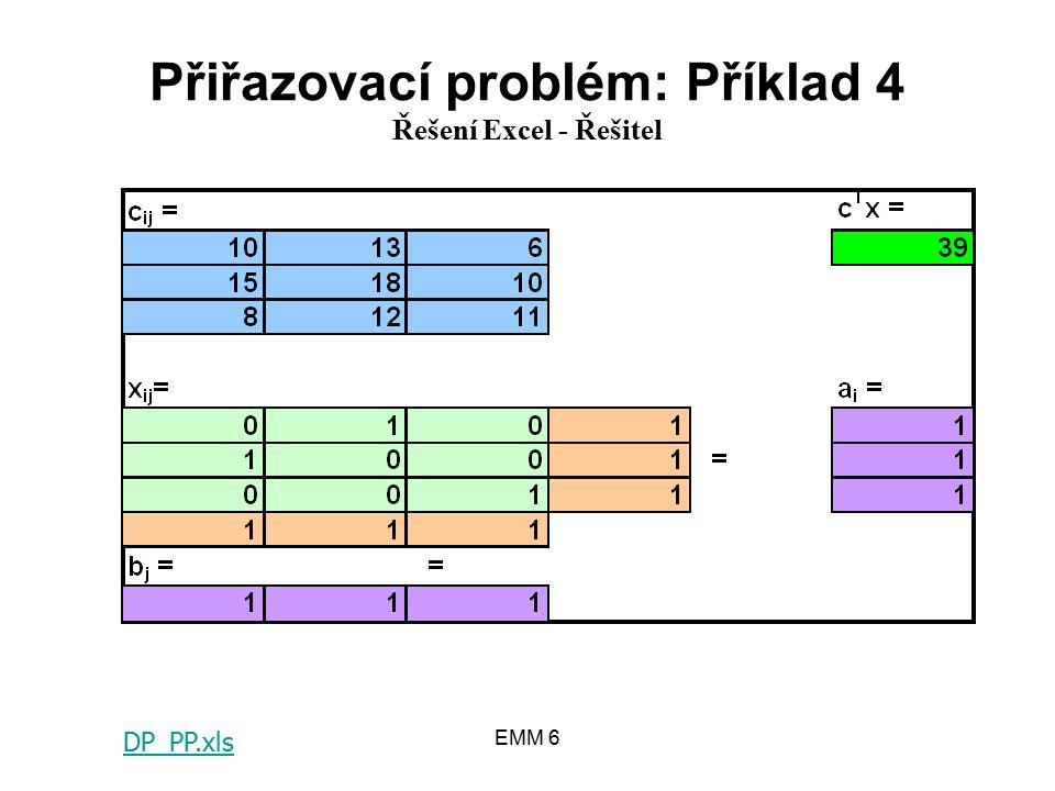 EMM 6 Přiřazovací problém: Příklad 4 Řešení Excel - Řešitel DP_PP.xls