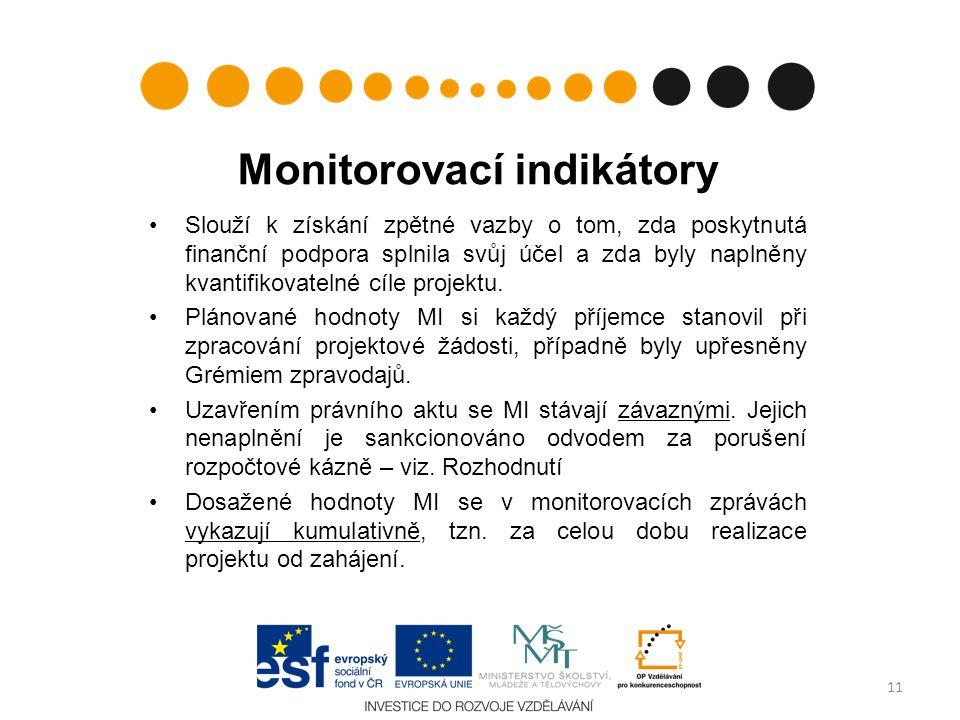 Monitorovací indikátory Slouží k získání zpětné vazby o tom, zda poskytnutá finanční podpora splnila svůj účel a zda byly naplněny kvantifikovatelné cíle projektu.