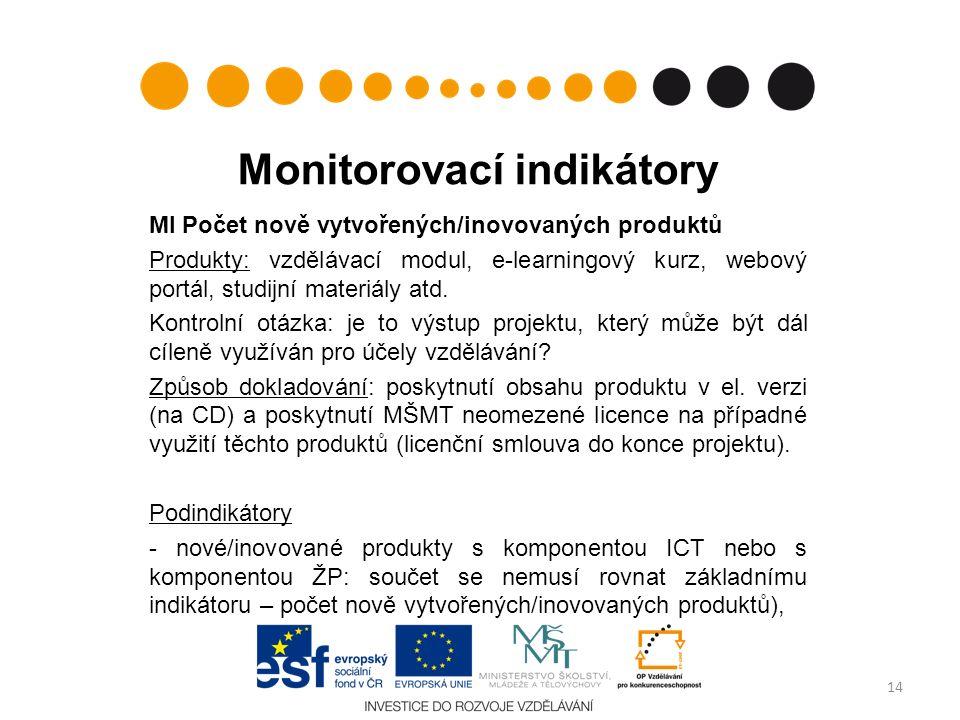 Monitorovací indikátory MI Počet nově vytvořených/inovovaných produktů Produkty: vzdělávací modul, e-learningový kurz, webový portál, studijní materiá