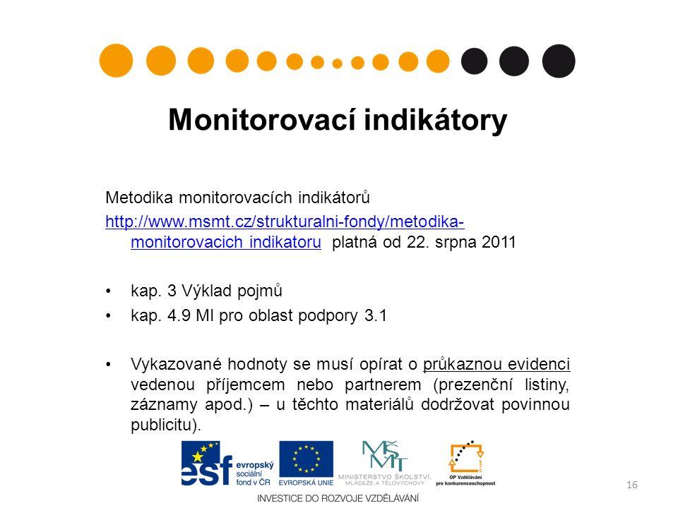 Monitorovací indikátory Metodika monitorovacích indikátorů http://www.msmt.cz/strukturalni-fondy/metodika- monitorovacich indikatoruhttp://www.msmt.cz/strukturalni-fondy/metodika- monitorovacich indikatoru platná od 22.