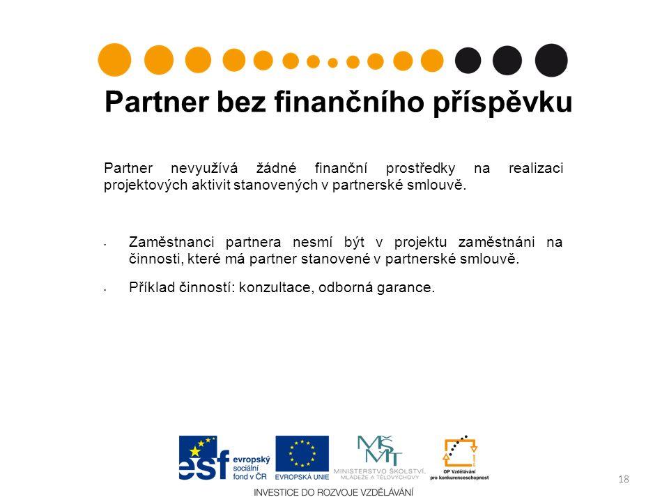 Partner bez finančního příspěvku Partner nevyužívá žádné finanční prostředky na realizaci projektových aktivit stanovených v partnerské smlouvě.