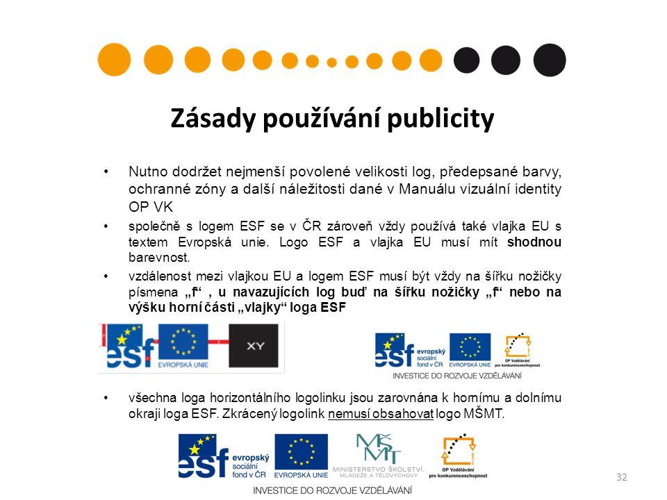 Zásady používání publicity Nutno dodržet nejmenší povolené velikosti log, předepsané barvy, ochranné zóny a další náležitosti dané v Manuálu vizuální identity OP VK společně s logem ESF se v ČR zároveň vždy používá také vlajka EU s textem Evropská unie.