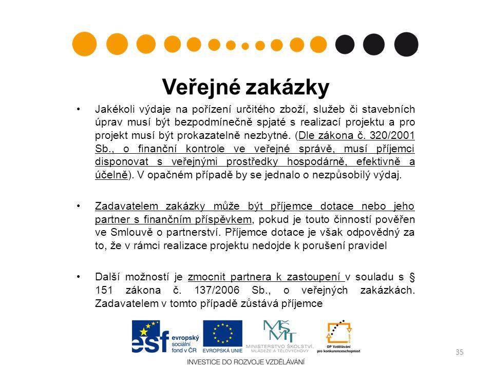 Veřejné zakázky Jakékoli výdaje na pořízení určitého zboží, služeb či stavebních úprav musí být bezpodmínečně spjaté s realizací projektu a pro projek