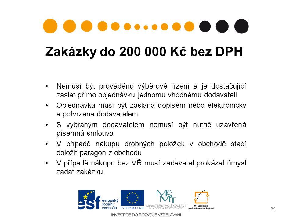 Zakázky do 200 000 Kč bez DPH Nemusí být prováděno výběrové řízení a je dostačující zaslat přímo objednávku jednomu vhodnému dodavateli Objednávka mus