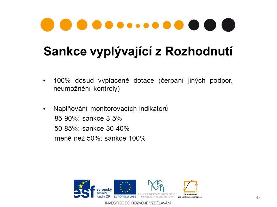 Sankce vyplývající z Rozhodnutí 100% dosud vyplacené dotace (čerpání jiných podpor, neumožnění kontroly) Naplňování monitorovacích indikátorů 85-90%: sankce 3-5% 50-85%: sankce 30-40% méně než 50%: sankce 100% 47
