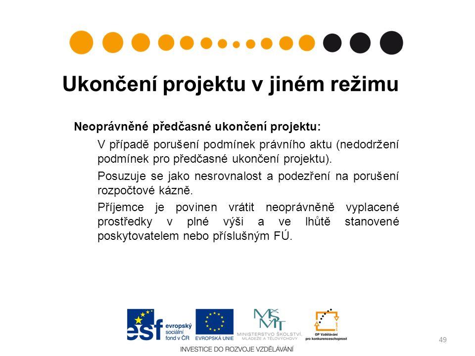 Ukončení projektu v jiném režimu Neoprávněné předčasné ukončení projektu: V případě porušení podmínek právního aktu (nedodržení podmínek pro předčasné ukončení projektu).