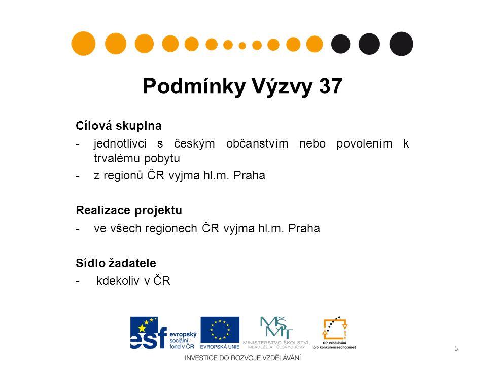 Podmínky Výzvy 37 Cílová skupina -jednotlivci s českým občanstvím nebo povolením k trvalému pobytu -z regionů ČR vyjma hl.m.