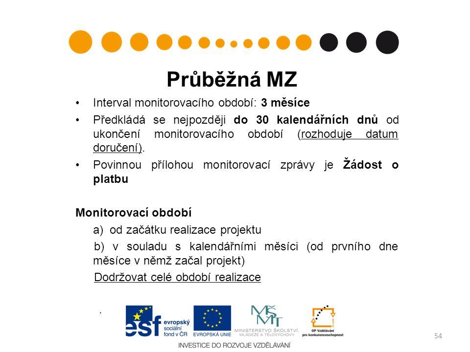 Průběžná MZ Interval monitorovacího období: 3 měsíce Předkládá se nejpozději do 30 kalendářních dnů od ukončení monitorovacího období (rozhoduje datum