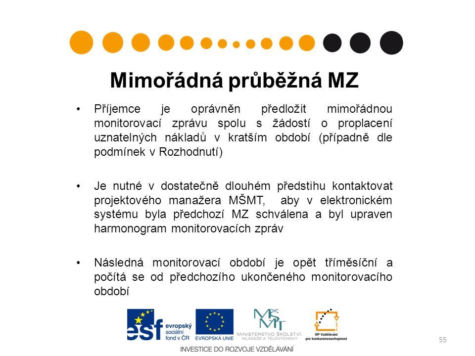 Mimořádná průběžná MZ Příjemce je oprávněn předložit mimořádnou monitorovací zprávu spolu s žádostí o proplacení uznatelných nákladů v kratším období (případně dle podmínek v Rozhodnutí) Je nutné v dostatečně dlouhém předstihu kontaktovat projektového manažera MŠMT, aby v elektronickém systému byla předchozí MZ schválena a byl upraven harmonogram monitorovacích zpráv Následná monitorovací období je opět tříměsíční a počítá se od předchozího ukončeného monitorovacího období 55