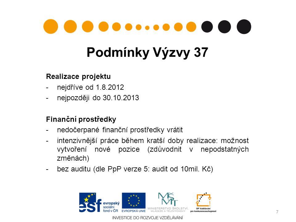 Podmínky Výzvy 37 Realizace projektu -nejdříve od 1.8.2012 -nejpozději do 30.10.2013 Finanční prostředky -nedočerpané finanční prostředky vrátit -intenzivnější práce během kratší doby realizace: možnost vytvoření nové pozice (zdůvodnit v nepodstatných změnách) -bez auditu (dle PpP verze 5: audit od 10mil.