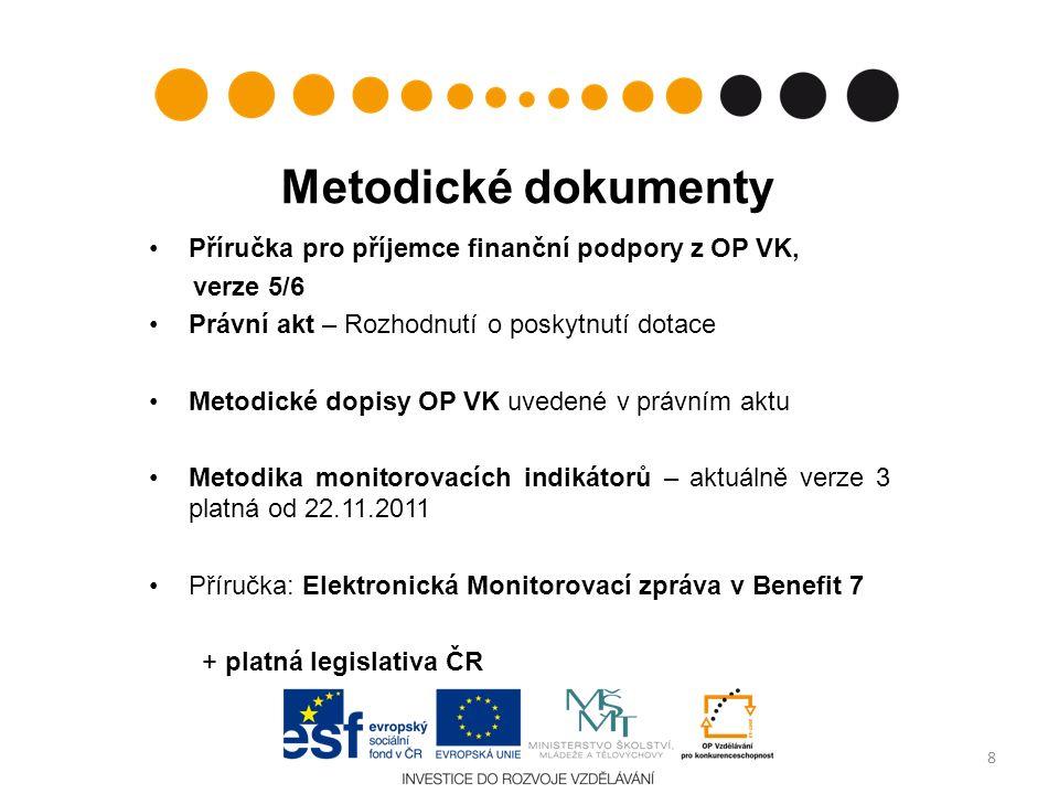 Metodické dokumenty Příručka pro příjemce finanční podpory z OP VK, verze 5/6 Právní akt – Rozhodnutí o poskytnutí dotace Metodické dopisy OP VK uvede