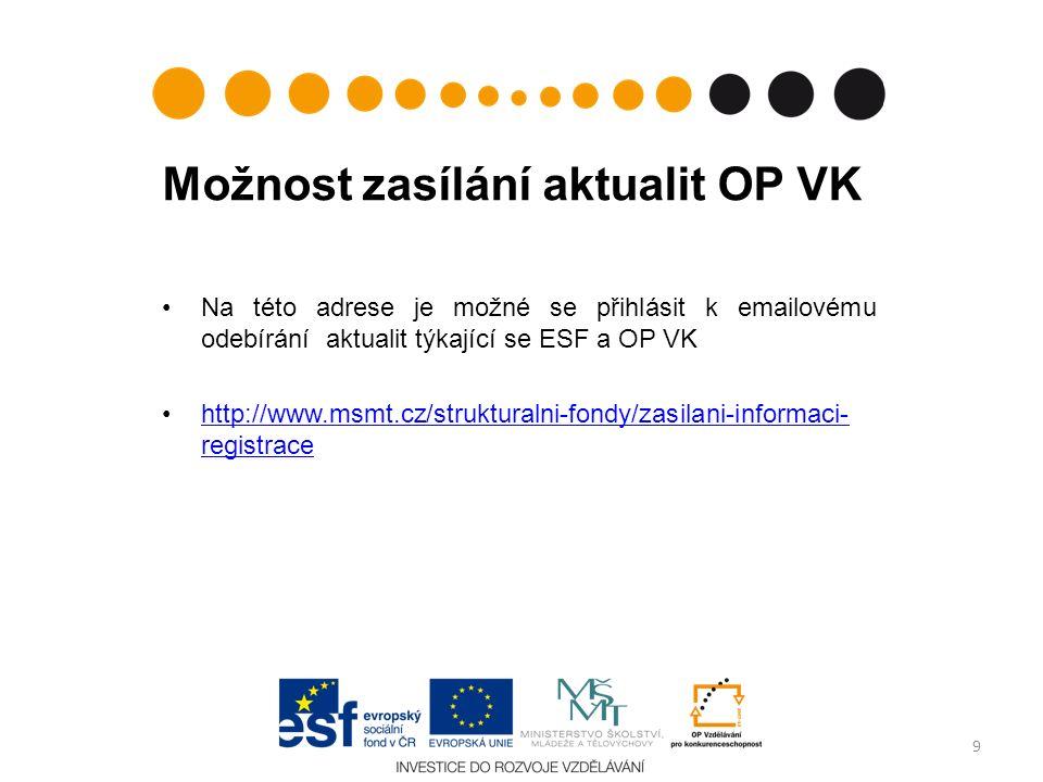 Možnost zasílání aktualit OP VK Na této adrese je možné se přihlásit k emailovému odebírání aktualit týkající se ESF a OP VK http://www.msmt.cz/strukturalni-fondy/zasilani-informaci- registracehttp://www.msmt.cz/strukturalni-fondy/zasilani-informaci- registrace 9