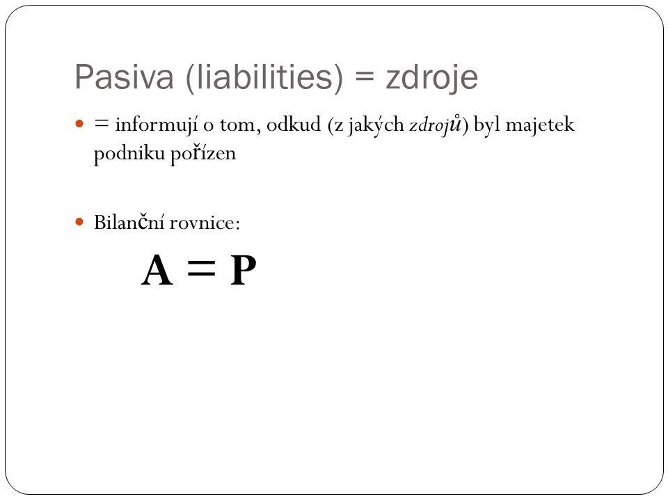Pasiva (liabilities) = zdroje = informují o tom, odkud (z jakých zdroj ů ) byl majetek podniku po ř ízen Bilan č ní rovnice: A = P