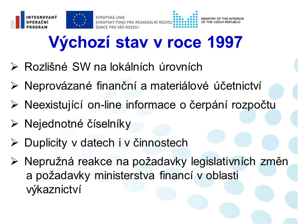 Trocha historie 04/1998 Zahájení budování EKIS I 05/2001 Zahájení budování EKIS II 09/2011 Další rozvoj 01/1999 Start EKIS I 01/2003 Start EKIS II