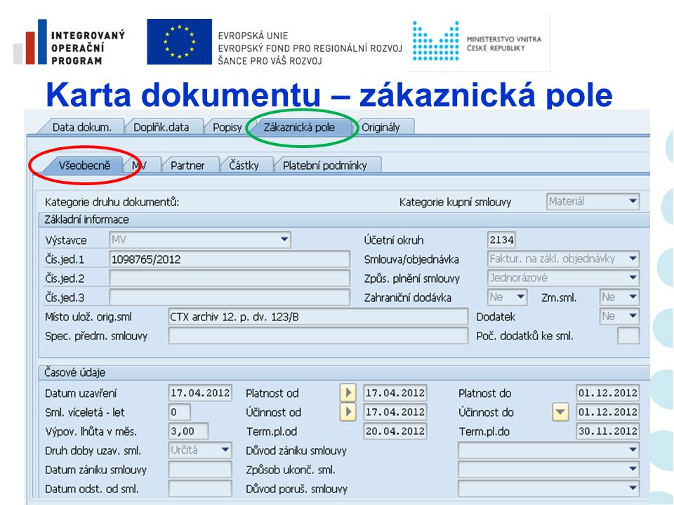 Karta dokumentu – vstupní obrazovka